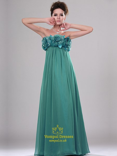 Jade Strapless Sleeveless Prom Dress With Flowers And Pockets