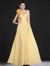 Elegant A Line Yellow V Neck Ruched Empire Waist Chiffon Prom Dress