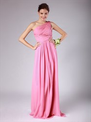 Pink One Shoulder Ruched Bodice Sleeveless Floor Length Prom Dress