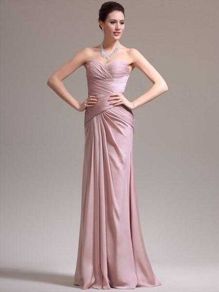 Blush Pink Sweetheart Ruched Bodice Sheath Chiffon Prom Dress