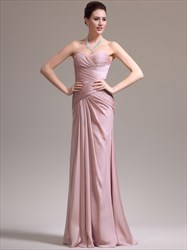Blush Pink Sweetheart Ruched Bodice Sheath Chiffon Prom Dress