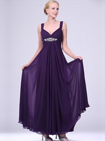 Simple Purple V Neck Crystal Sleeveless Floor Length Prom Dress