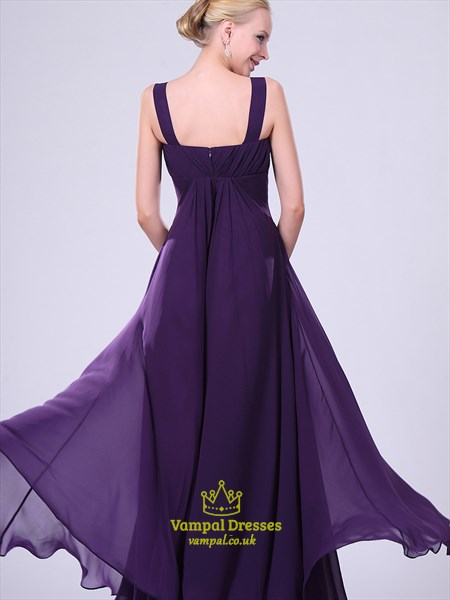 Simple Purple V Neck Crystal Sleeveless Floor Length Prom Dress