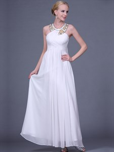 White Halter Neck Rhinestone Chiffon Long Prom Dress With Cape