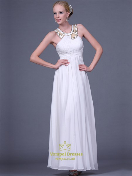 White Halter Neck Rhinestone Chiffon Long Prom Dress With Cape