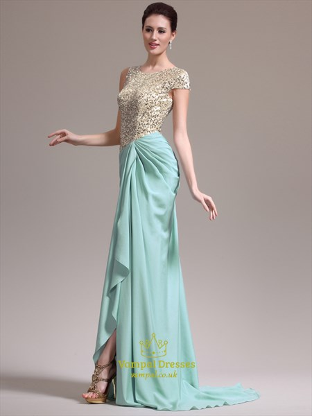 Jewel Neck Sleeveless Beaded Bodice Ruched Back Prom Dress With Split