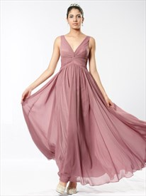 Blush Pink V Neck V Back Sleeveless Ruched Empire Waist Prom Dress