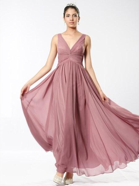 Blush Pink V Neck V Back Sleeveless Ruched Empire Waist Prom Dress