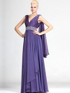 Lavender V Neck Beaded Floor Length Chiffon Prom Dress With Cape