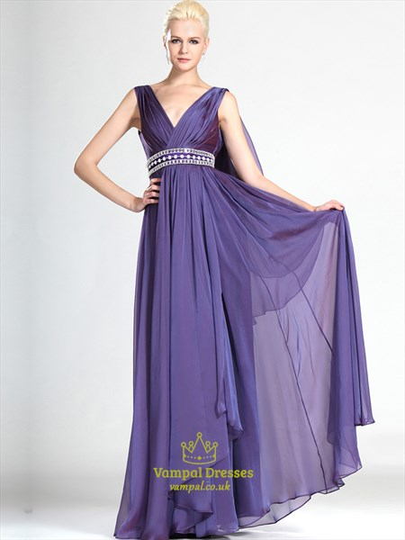 Lavender V Neck Beaded Floor Length Chiffon Prom Dress With Cape
