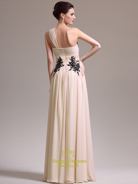 Beige One Shoulder Sleeveless Ruched Prom Dresses With Applique