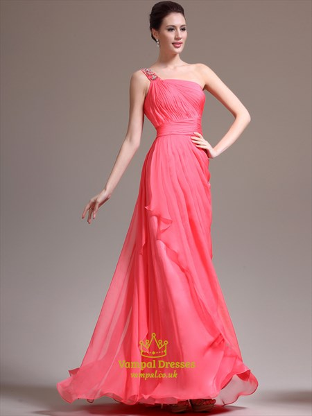 Watermelon One Shoulder Beaded Sleeveless Ruched Chiffon Prom Dresses