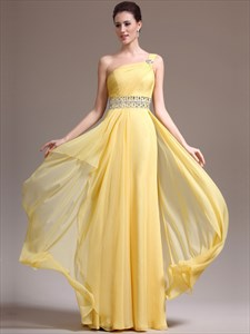 A Line Yellow One Shoulder Beaded Floor Length Chiffon Prom Dress