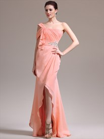 Orange A Line One Shoulder Ruched Bodice Crystal Long Prom Dresses