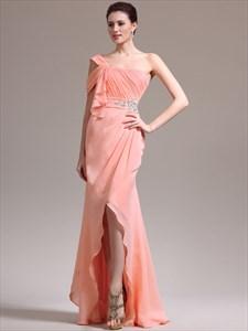 Orange A Line One Shoulder Ruched Bodice Crystal Long Prom Dresses