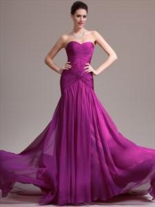 Purple Strapless Sleeveless Ruched Chiffon Prom Dress With Train