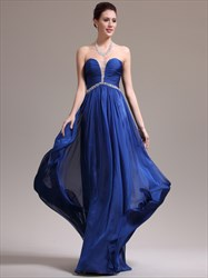 Royal Blue Sweetheart Neckline Beaded Floor Length Prom Dress