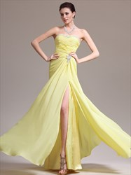 Yellow Strapless Sleeveless Beaded Chiffon Prom Dress With Split