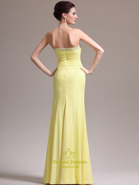 Yellow Strapless Sleeveless Beaded Chiffon Prom Dress With Split