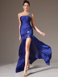 Royal Blue One Shoulder Beaded Sheath Long Prom Dress With Split