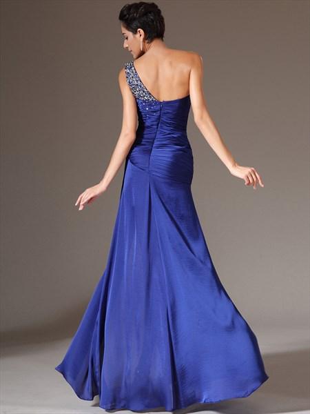 Royal Blue One Shoulder Beaded Sheath Long Prom Dress With Split