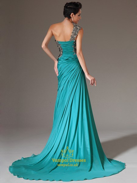 One Shoulder Applique Ruched Sleeveless Prom Dress With Train