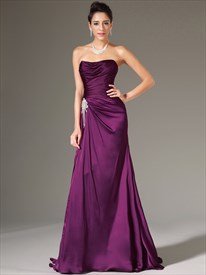 Purple Strapless Sleeveless Ruched Bodice Crystal Sheath Prom Dresses