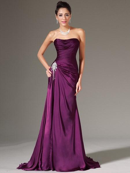 Purple Strapless Sleeveless Ruched Bodice Crystal Sheath Prom Dresses
