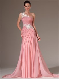Pink One Shoulder Applique Pleated Chiffon Prom Dress With Train