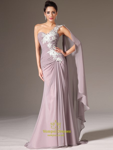 Lilac One Shoulder Sleeveless Applique Ruched Prom Dress With Cape