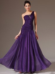 Purple One Shoulder Beaded Ruched Floor Length Organza Prom Dress