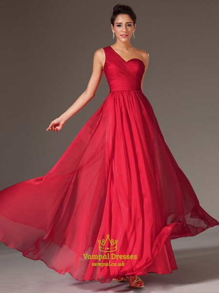 Simple A Line Red One Shoulder Sleeveless Ruched Prom Dress With Lace