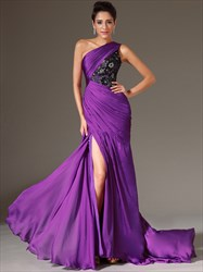 Purple One Shoulder Beaded Applique Long Prom Dress With Split
