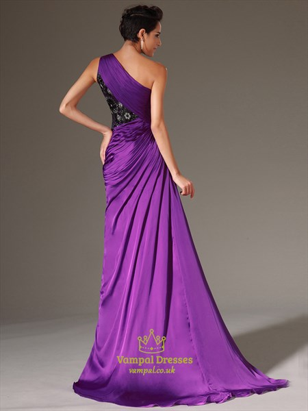 Purple One Shoulder Beaded Applique Long Prom Dress With Split
