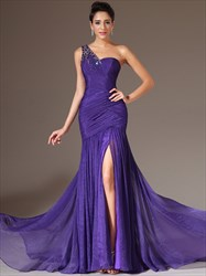 Sleeveless Ruched Beaded Floor Length Organza Prom Dress With Split