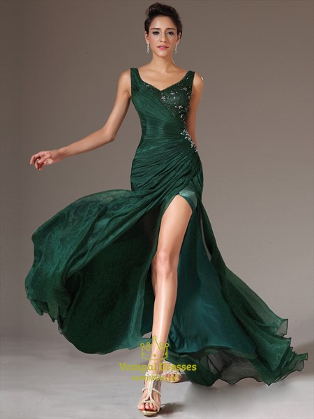 Emerald Green V Neck Beaded Long Organza Prom Dress With Split