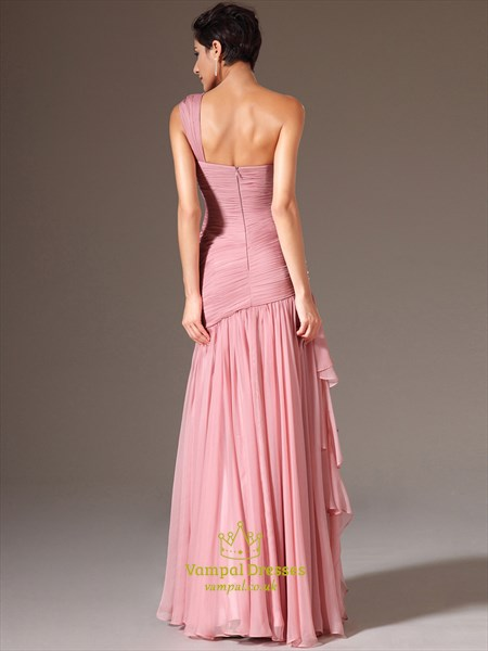 Pink One Shoulder Sleeveless Ruched Beaded Chiffon Prom Dress