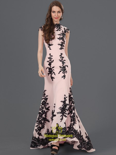 High Neck Beaded Applique Cap Sleeve Chiffon Prom Dress With Train