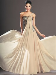 A Line Beige One Shoulder Sleeveless Sequin Top Chiffon Prom Dress