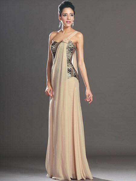 A Line Beige One Shoulder Sleeveless Sequin Top Chiffon Prom Dress
