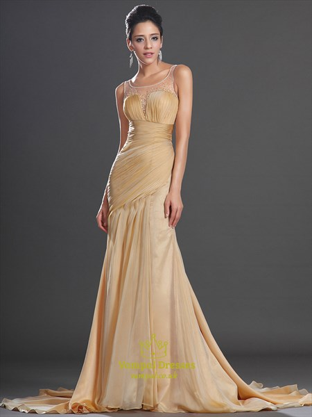 Scoop Neck Beaded Ruched Sheath Prom Dress With Split And Train