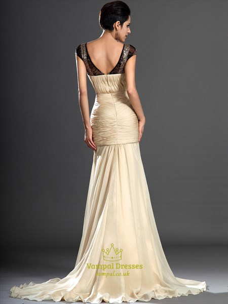 Champagne V Neck Cap Sleeve Beaded Ruched Sheath Chiffon Prom Dress