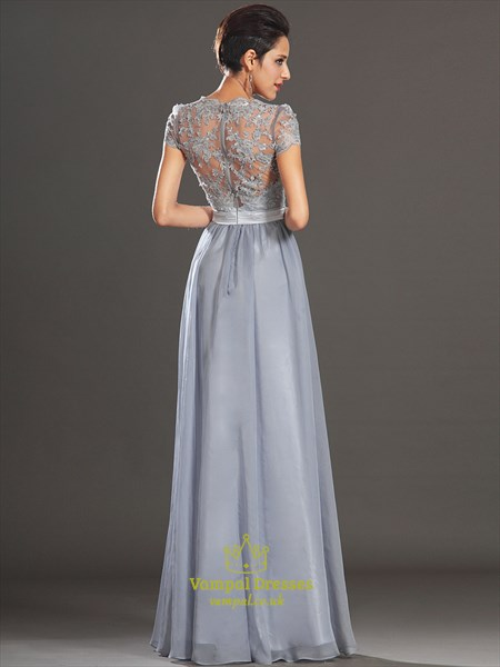 Square Neck Short Sleeve Beading Applique Illusion Back Prom Dress