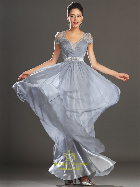Square Neck Short Sleeve Beading Applique Illusion Back Prom Dress
