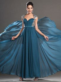 Blue Sweetheart Sleeveless Keyhole Sequin Top Chiffon Prom Dress