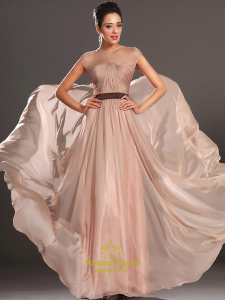 Simple A Line Pink High Neck Cap Sleeve Ruched Chiffon Prom Dress