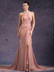 Halter Neck Beaded Sleeveless Ruched Prom Dress With Split And Train