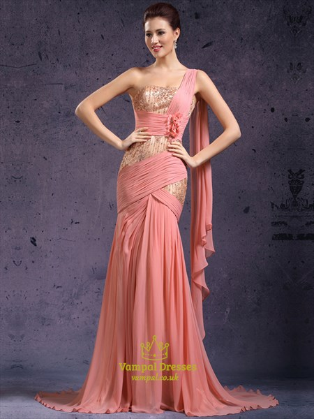 One Shoulder Beading Applique Chiffon Long Prom Dress With Flowers