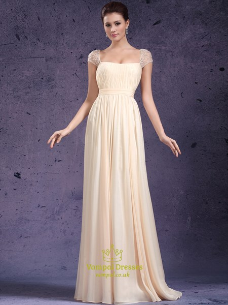 Champagne A Line Square Neck Beaded Cap Sleeve Chiffon Prom Dress