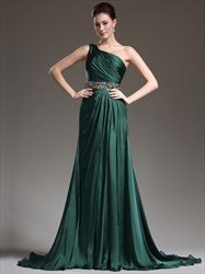 Elegant A Line Emerald Green One Shoulder Beaded Pleated Prom Dress